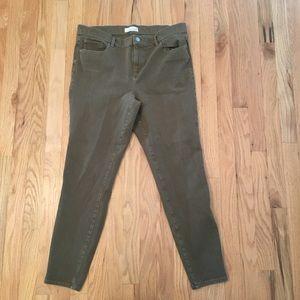 LOFT olive green skinny jeans size 14